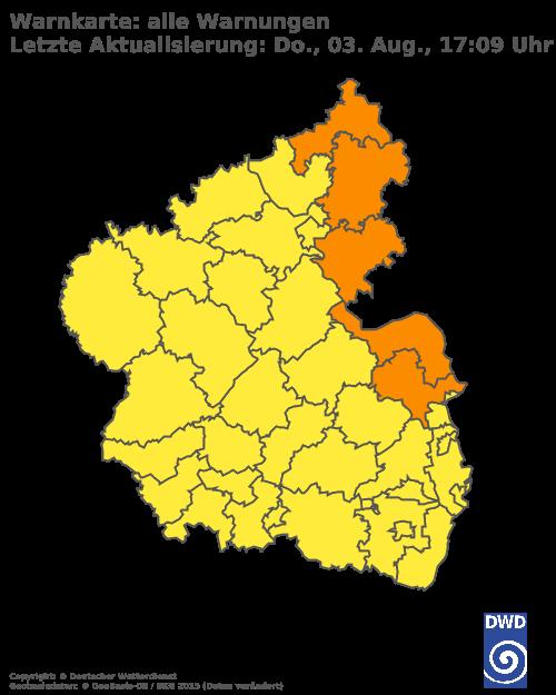 Aktuelle Wetterwarnungen für Mainz-Bingen und Stadt Mainz